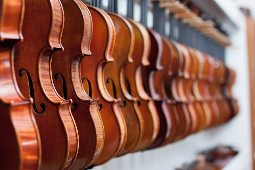 Violins on display in a shop